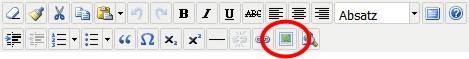 Mit diesem Knopf in der Werkzeugleiste öffnen Sie den Dialog zum Hochladen und Einfügen von Bildern.