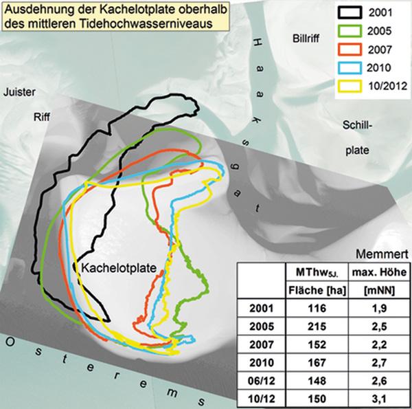 Lage und Größe der Kachelotplate verändern sich ständig. (Bild: NLWKN Norden)