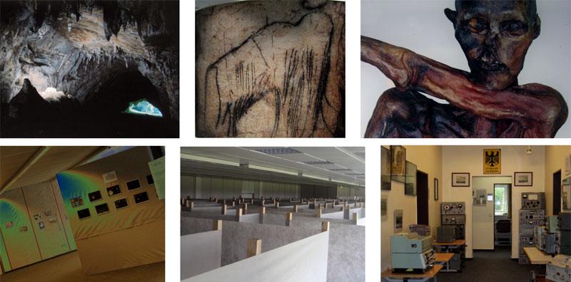 Aufnahmen aus den aktuellen Noordway-Ausstellungen: Höhlenmalereien, Ötzi, Geisteswelten, Labyrinth und Funktechnisches Museum. (Foto: Noordway GmbH)