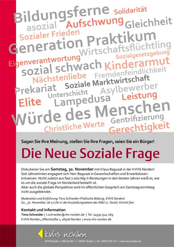 Die Neue Soziale Frage ist am Samstag Diskussionsthema in der KVHS Norden. (Plakat: Kaja Schierl, KVHS Norden)