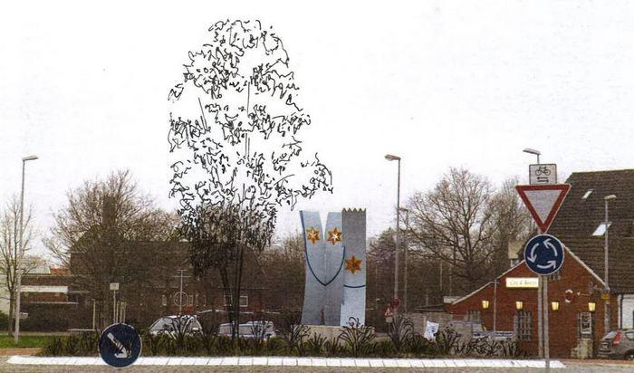 """Kreisel am Alten Zollhaus mit """"Ratsbaum"""" (Foto: Stadt Norden)"""