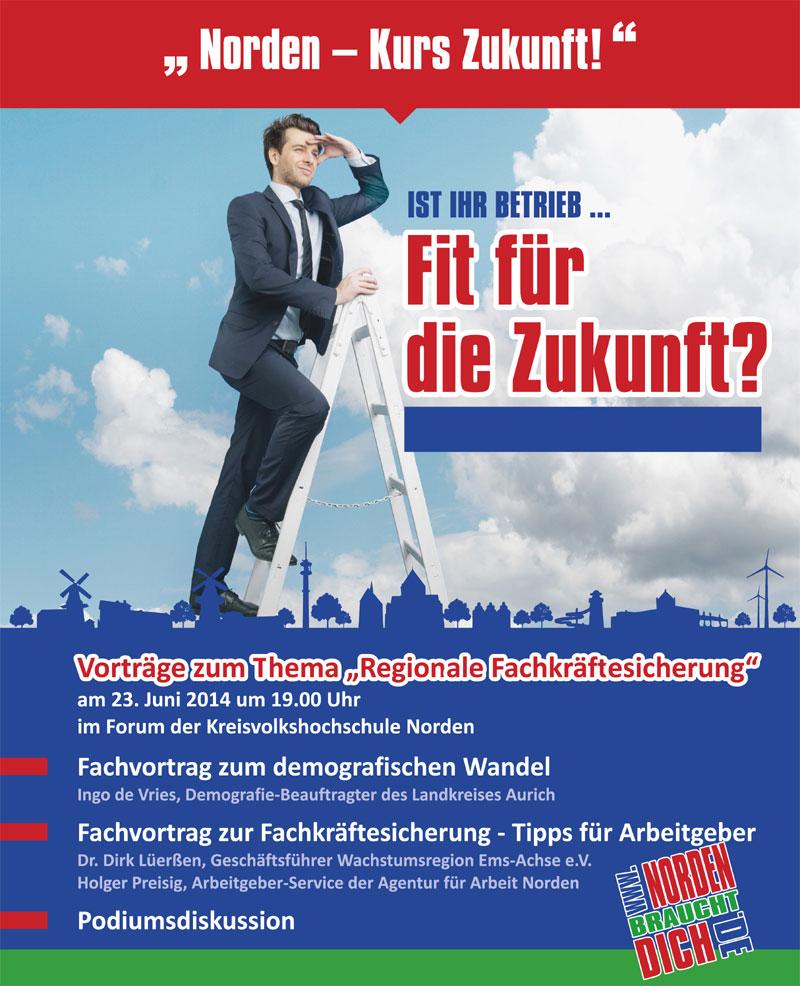 Am 23. Juni gibt es in der KVHS Norden Tipps zur Fachkräftesicherung für regionale Arbeitgeber. (Plakat: Stadt Norden)