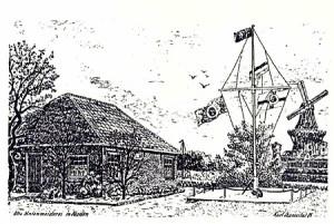 Federzeichnung der Alten Hafenmeisterei in Norden von Kurt Szameitat.