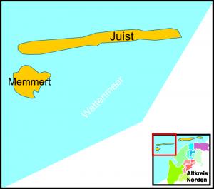 Die Stadt und Insel Juist mit Memmert